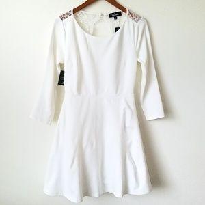 Lulu's Lace Back Dress Ivory M